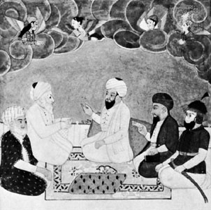 Abū Bakr (second figure on left), miniature from an illuminated manuscript; in the British Library (MS. Or. 371)